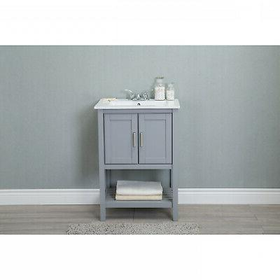 24 in gray bathroom vanity with single