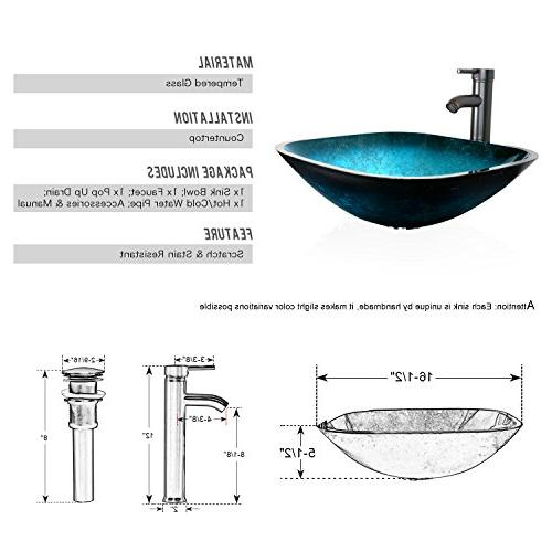 eclife 24'' Modern Vanity and Stand Bowl Glass GPM and Brass Drain