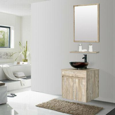 "24"" Naturl Bathroom Cabinet W/Glass Vessel Sink Faucet"