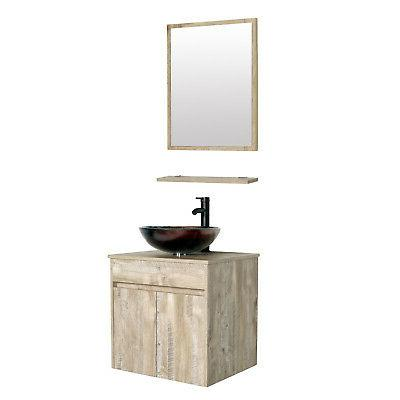 24 naturl bathroom vanity cabinet w glass