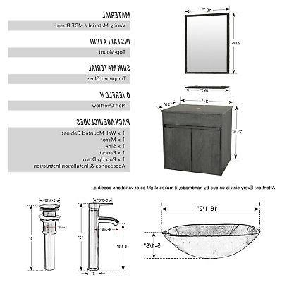 "24"" Mounted Vanity W/Glass Set"