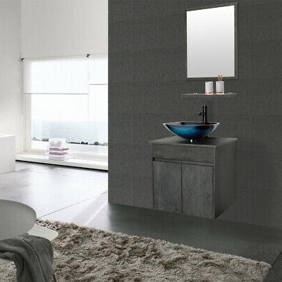 "24"" Mounted Bathroom Vanity W/Glass Set Floating Concrete Grey"