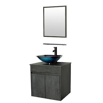 24 wall mounted bathroom vanity w glass