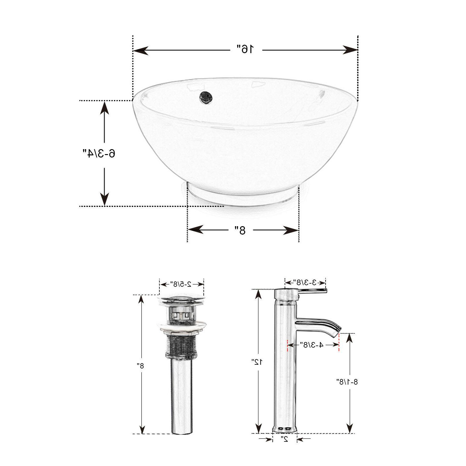 "24"" White Vanity Mirror Vessel Sink Combo"