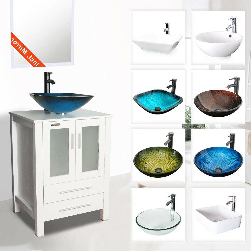 24 white bathroom vanity cabinet and glass