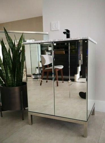 """26"""" Collection Modern Mirrored Reflection Bathroom Vanity"""