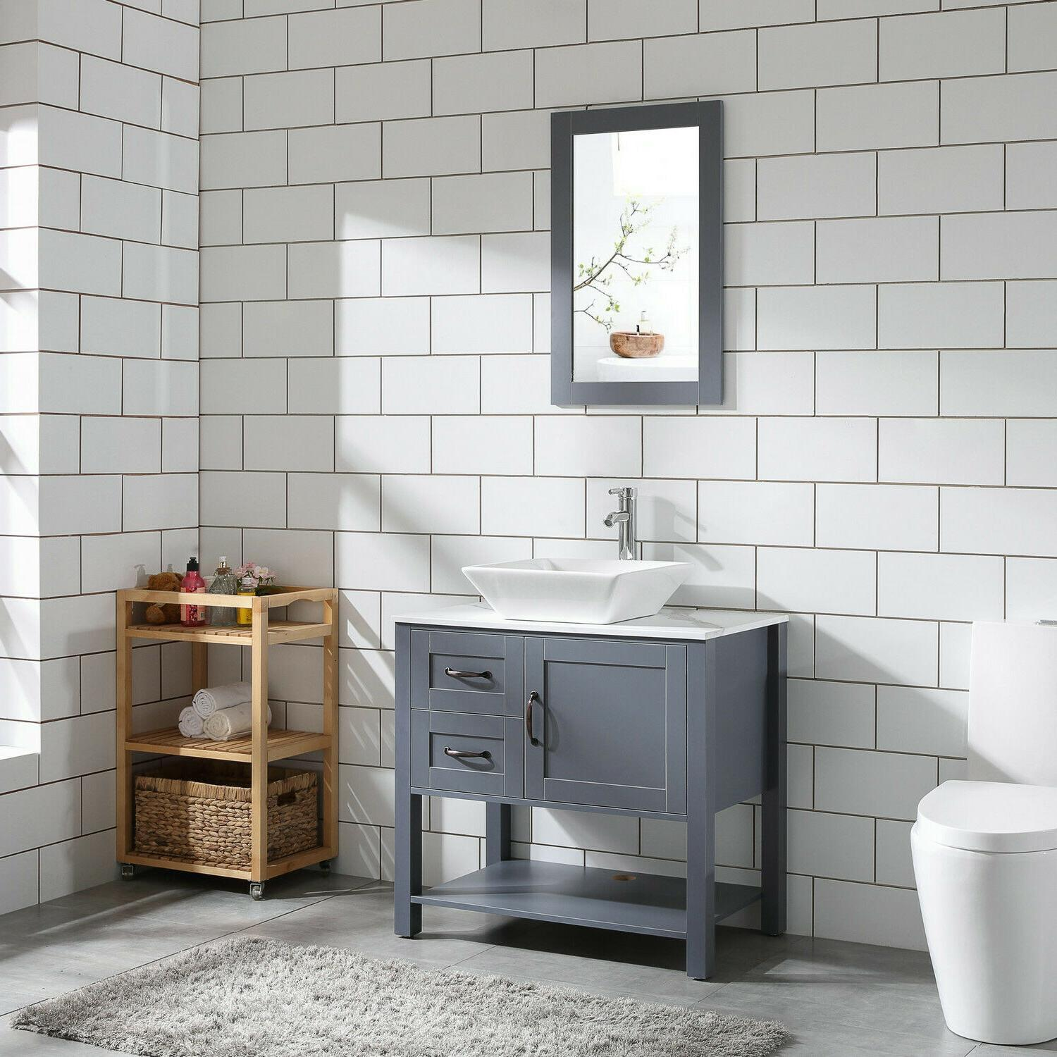 "30"" Gray Bathroom and Pattern Top w/Mirror"