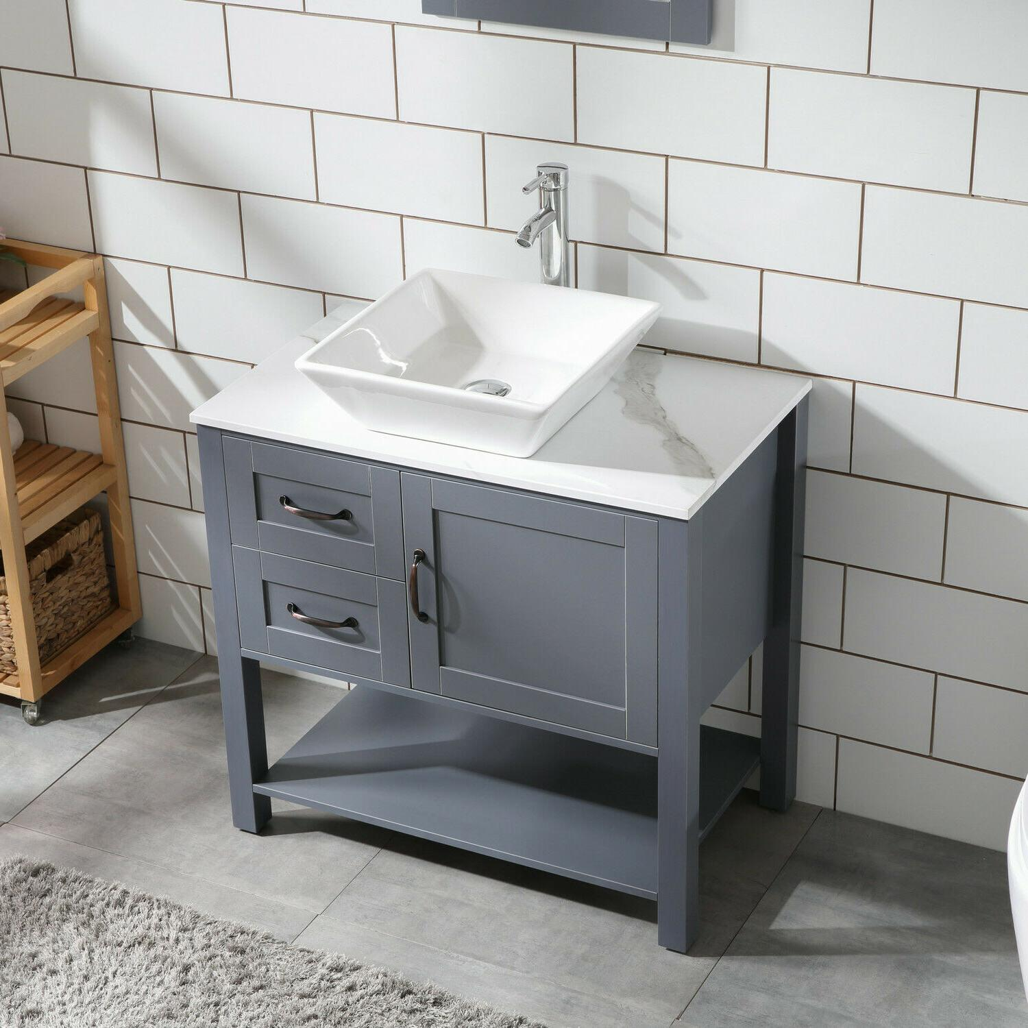 "30"" Gray Bathroom and Sink Combo Pattern"