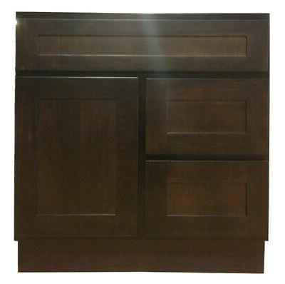 Kingway 30-inch with Left Drawers Expresso Birch