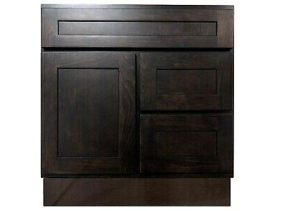30 inch vanity cabinet with left drawers
