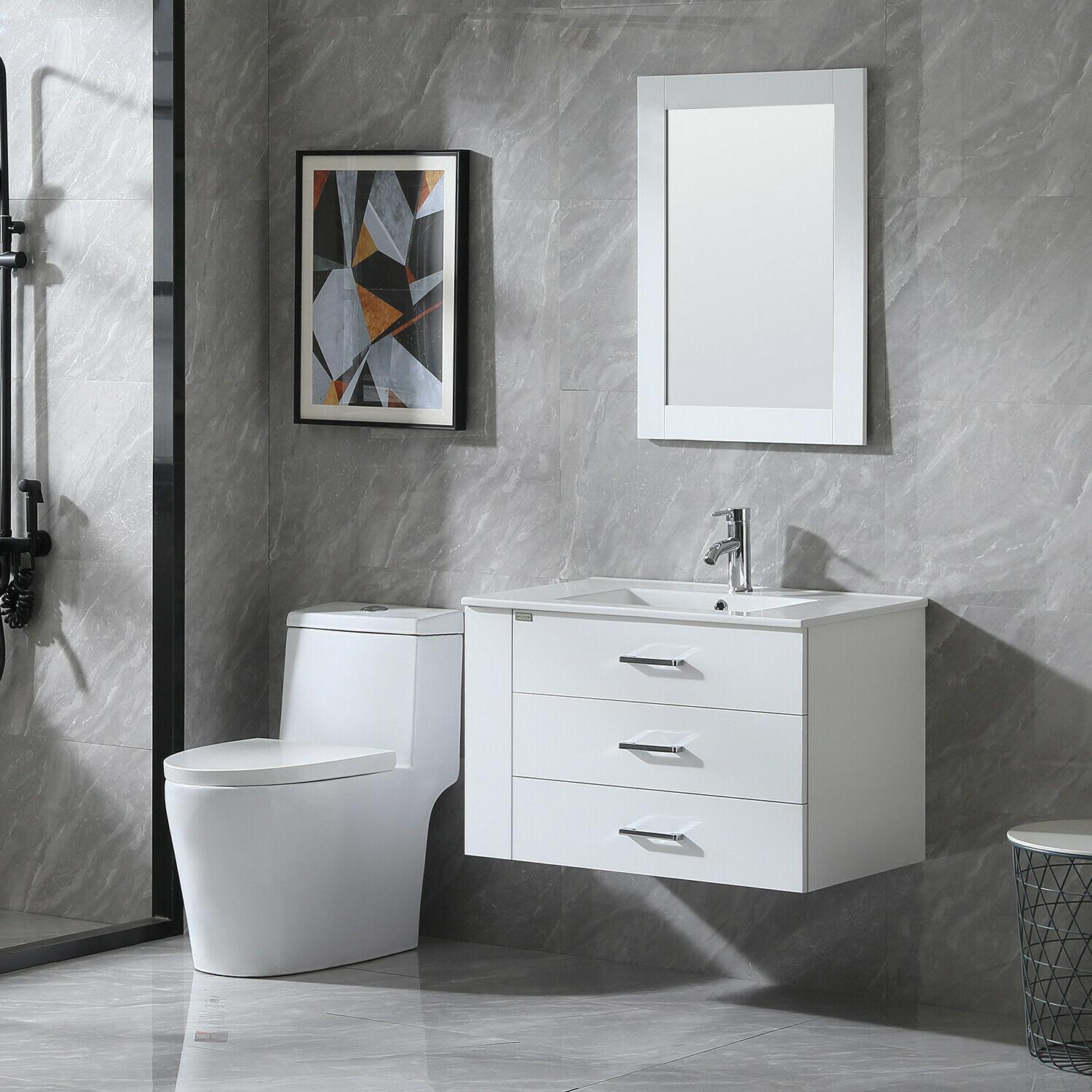 """32"""" Wall White with Faucet"""