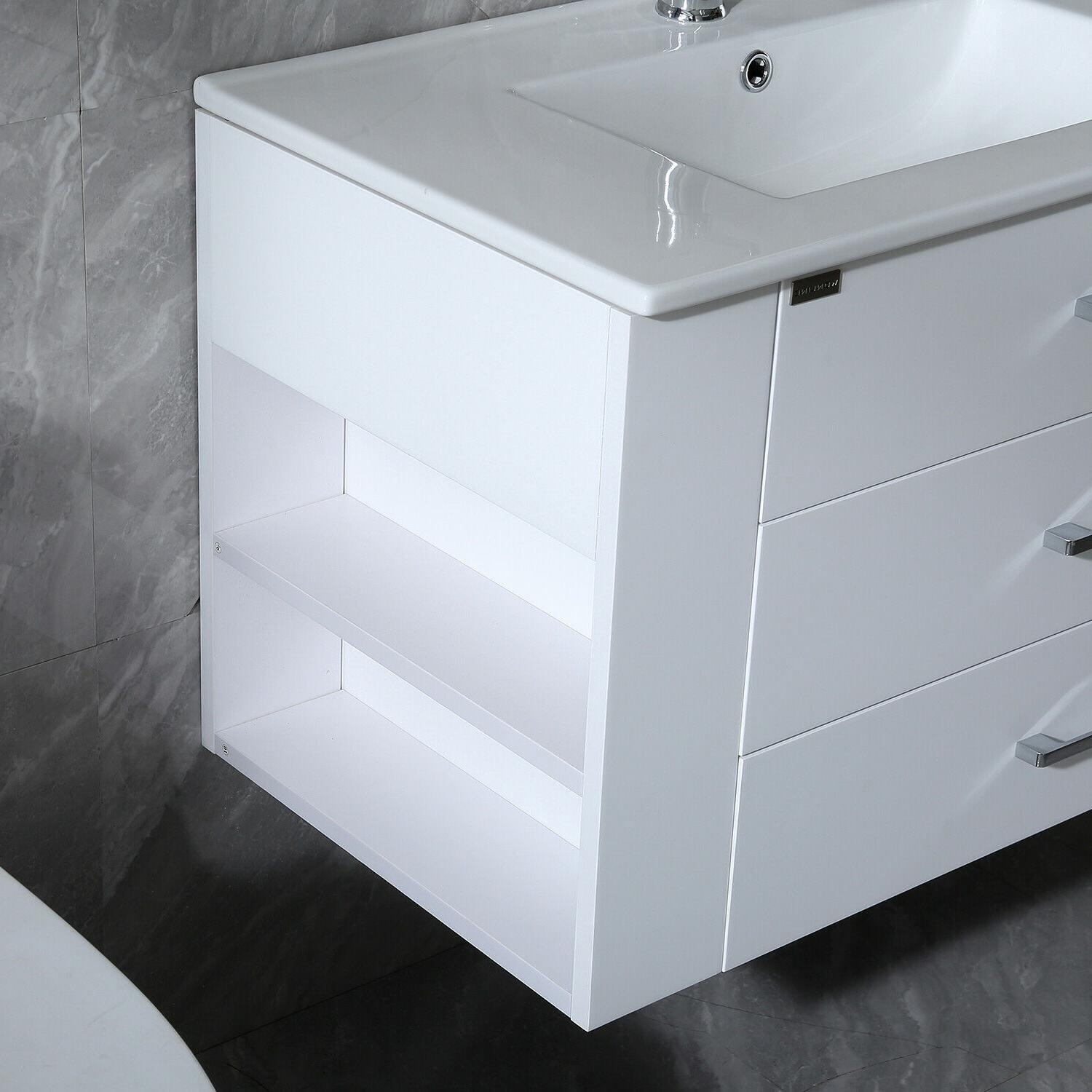 "32"" Vanity Wall White Cabinet with Sink Faucet"
