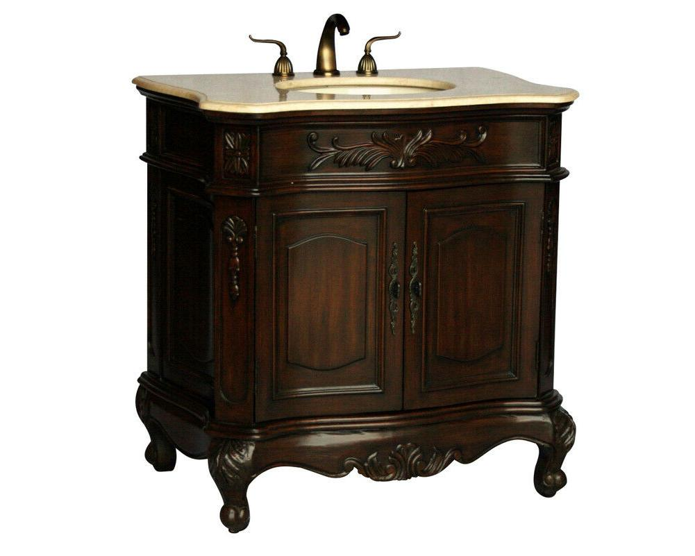 34 inch antique style single sink bathroom