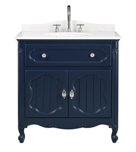 "34"" Navy Blue Bathroom Sink Vanity"