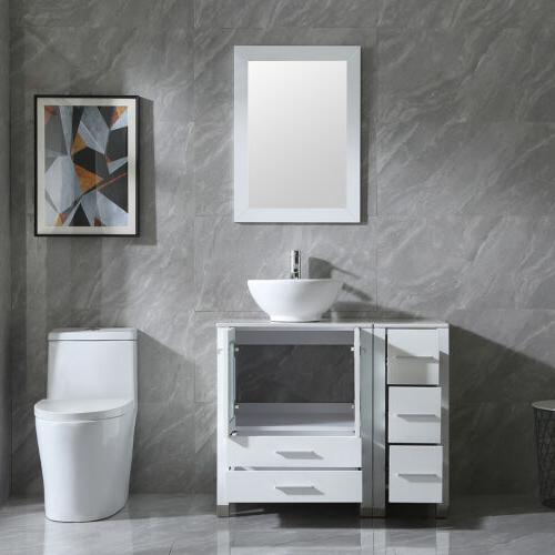 """36"""" Vanity with Sink Ceramic Faucet and Mirror New"""