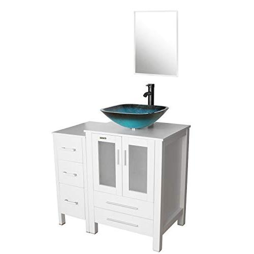 eclife 36'' Bathroom Sink Combo Small Side Square Sink & Water Solid Drain, W/Mirror
