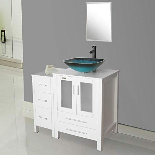 eclife Vanity Sink Combo Side Square Tempered Water Faucet Solid Drain, W/Mirror