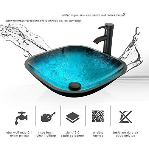 eclife Sink W/White Side Cabinet Vanity Turquoise Square Glass Sink 1.5 Water & Solid Brass Drain,