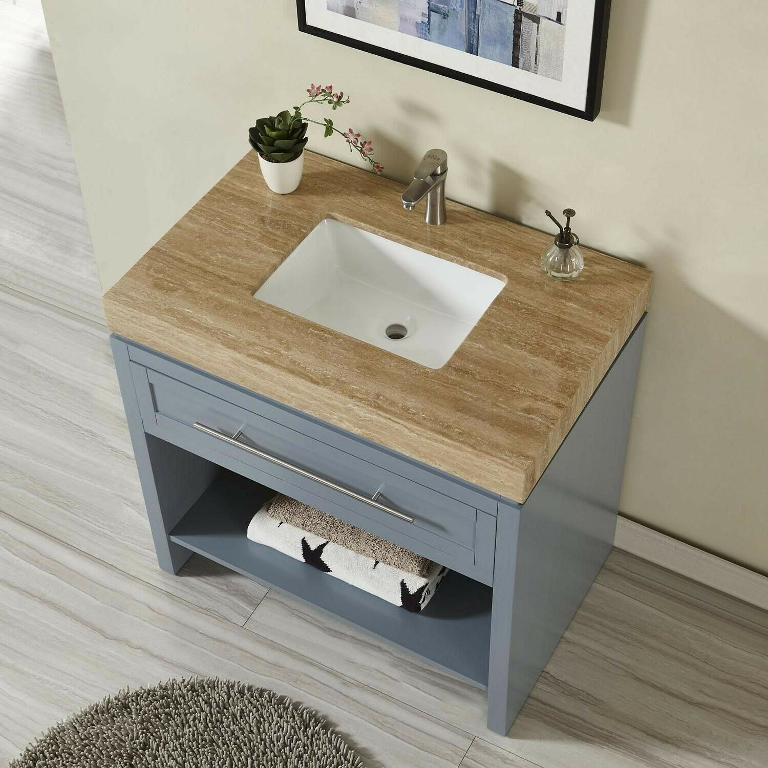 "36"" Bathroom Vanity Combo - Blue Grey Cabinet + Travertine S"