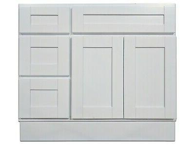 36 inch vanity cabinet with right drawers