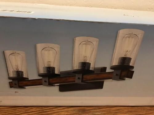 4 wood cylinder vanity light