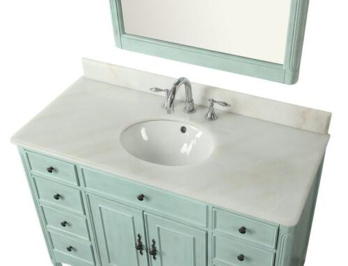 """46.5"""" Collection Distressed Light Blue Bathroom Sink"""