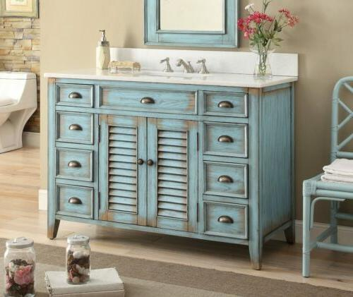 46 inches bathroom vanity distressed blue abbevile