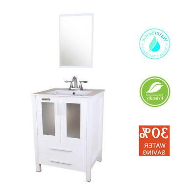 """48"""" Vanity White in Sink Brushed Faucet"""