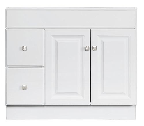 Design White Vanity with 2-Doors and 36-Inches Deep 31.5-Inches Tall