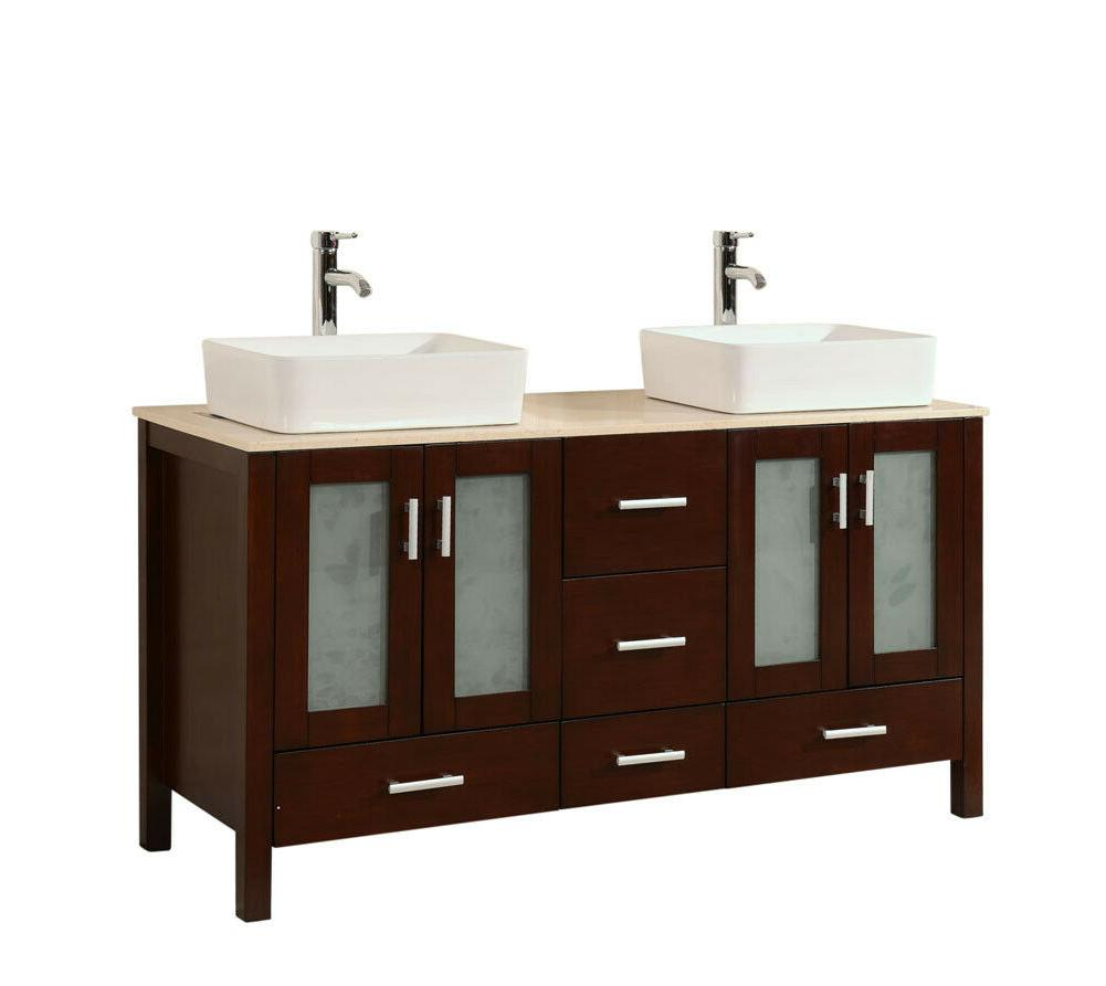 58 inch contemporary style double sink bathroom