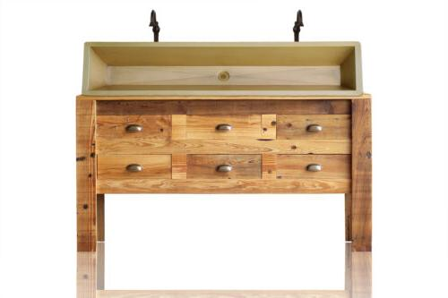 "60"" Wood Apothecary Chest Bath Vanity Copper Sink Package"