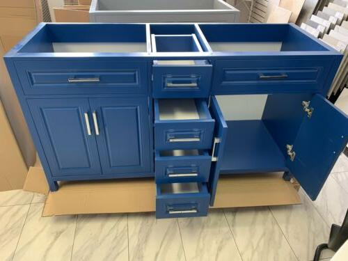 """60"""" Traditional Panel Double Bathroom Cabinet Blue"""