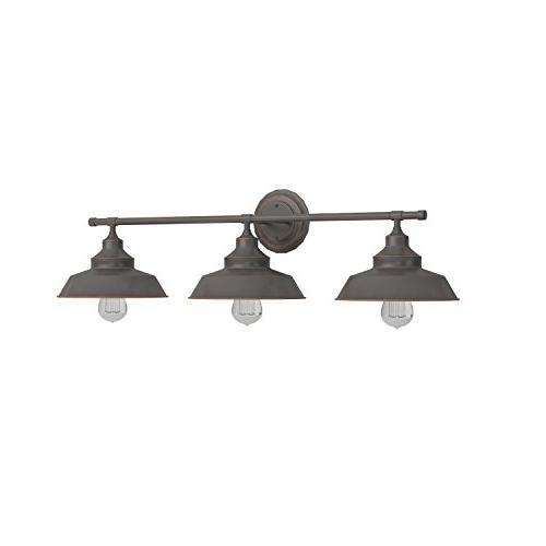 Westinghouse Three-Light Wall Fixture, Oil Rubbed Finish with Shades