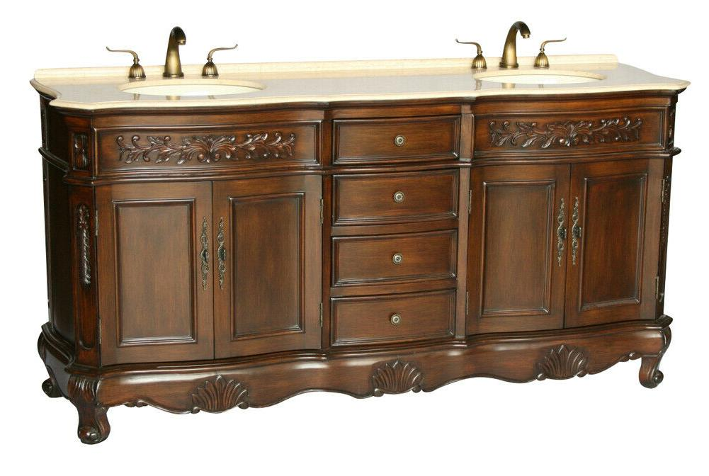 72 inch antique style double sink bathroom