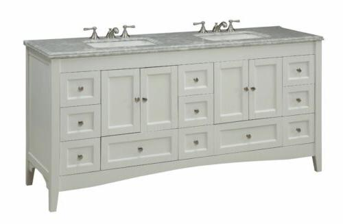"72"" Benton Kenly Double Sink White Bathroom"