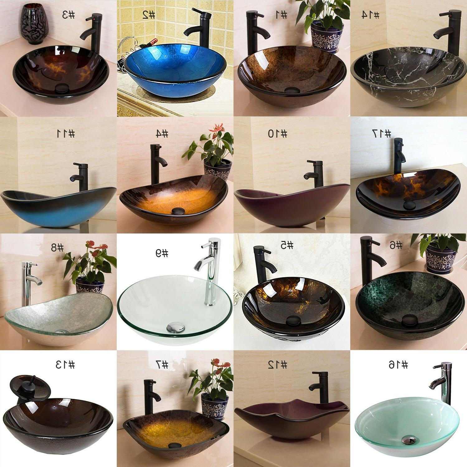 Bathroom Tempered Glass Vessel Sink Bowl Faucet Pop-up Drain