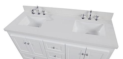 Abbey Double Vanity : White Soft Close Drawers Doors, Sinks
