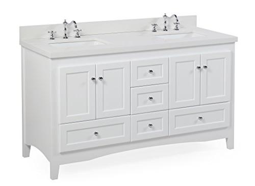 Abbey Double Vanity : White Cabinet, Countertop, Soft Close and Doors, Rectangular Ceramic Sinks