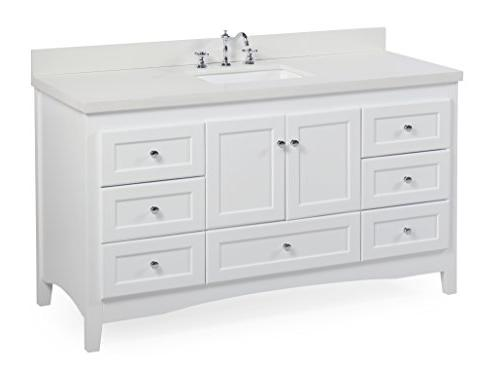 Abbey Vanity : White Quartz Soft Close Drawers Doors, Sink