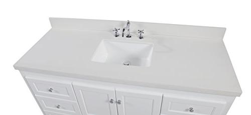 Abbey 60-inch Vanity Includes White Cabinet, Quartz Countertop, Soft Doors, and Rectangular Sink