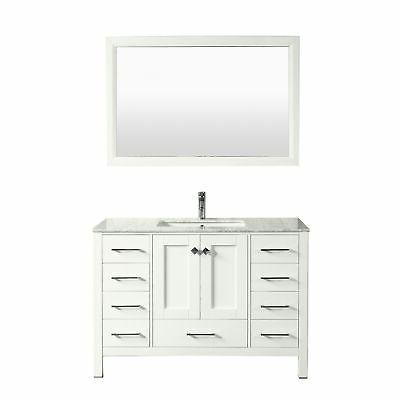 aberdeen 48 white transitional bathroom vanity w