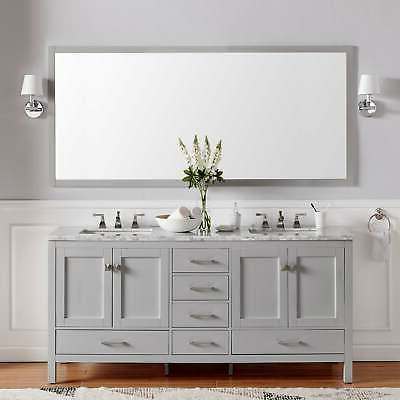 aberdeen 84 gray transitional double sink bathroom