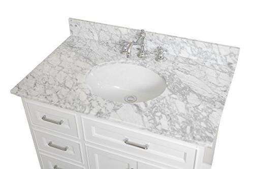 Aria 36-inch : a Cabinet with Drawers, Carrara Marble Countertop, and Ceramic Sink