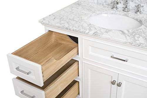 Aria 36-inch Bathroom : Cabinet with Soft Drawers, Marble Countertop, White Ceramic