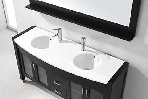 Ava 63 Double Bathroom Vanity with Mirror, Espresso