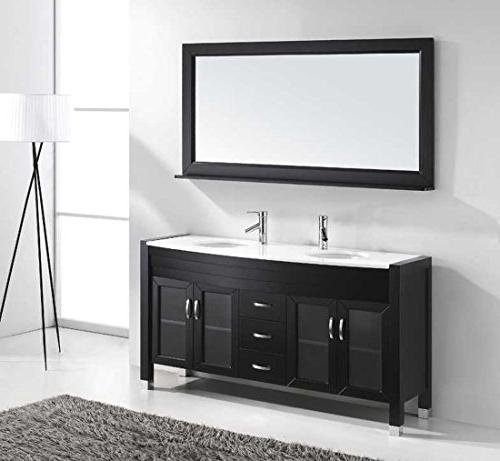 Ava 63 Double Bathroom Vanity Set Mirror, Espresso