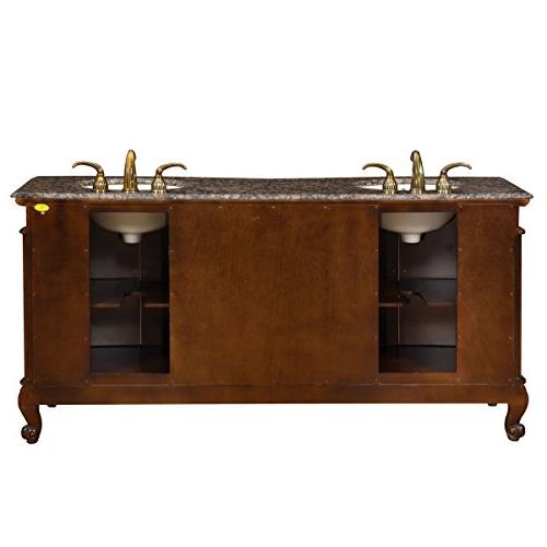 Silkroad Granite Top Double Sink Bathroom Vanity with 72-Inch