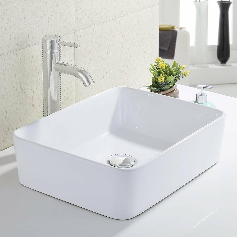 bathroom rectangular porcelain vessel sink
