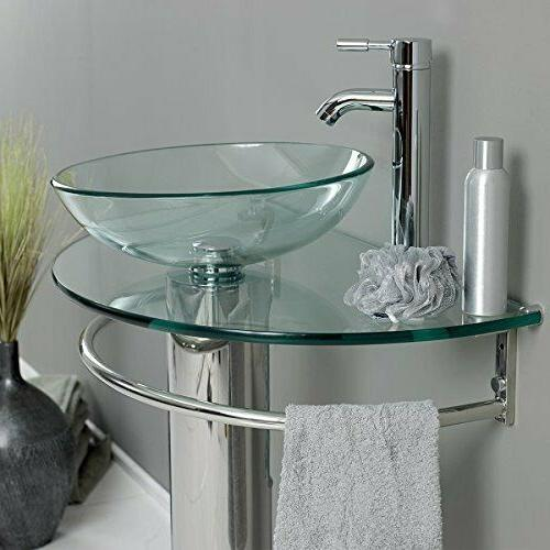 """30"""" Glass Sink Pedestal Faucet and combo"""