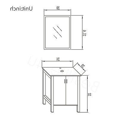 Bathroom Vanity Single Top Mirror 2 Drawers